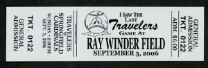 Commemorative ticket for the Arkansas Travelers final game in Ray Winder Field.